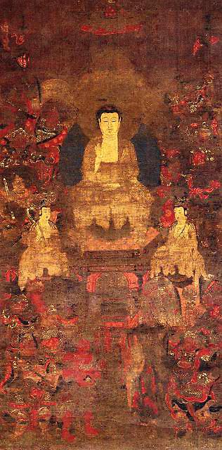 絹本著色釈迦十六善神画像(県指定)